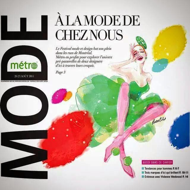 Festival Mode&Design, Live-Sketch, Journal Metro, fashion week cover newspaper, fashion illustration, editorial, girl in green dress