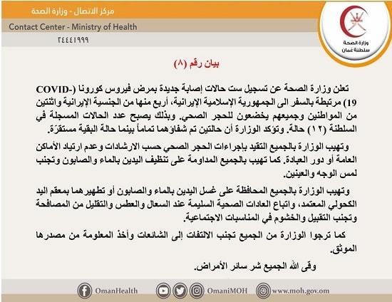 ظهور 6 أصابات جديدة بفيروس الكورونا بسلطنة عمان