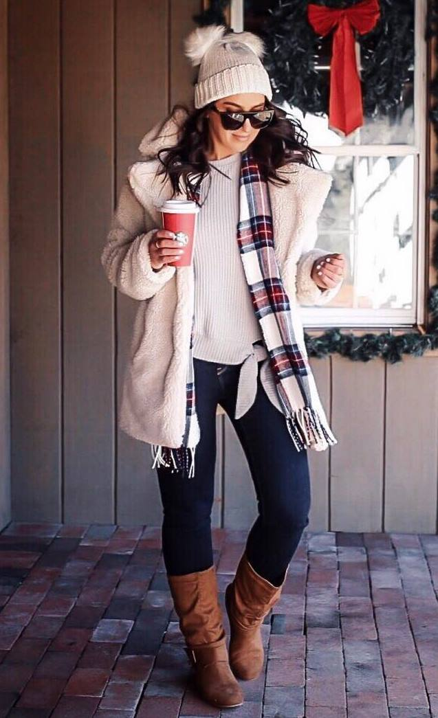 what to wear with a plaid scarf : sweater + hat + coat + skinnies + boots