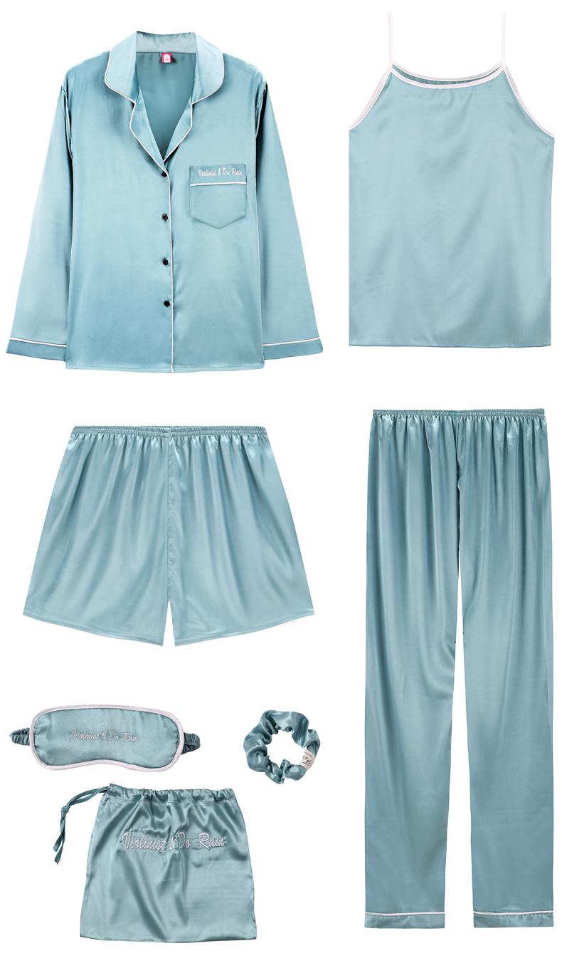 Bộ Pijama ngủ 7 chi tiết bằng lụa mặc nhà dễ thương 6