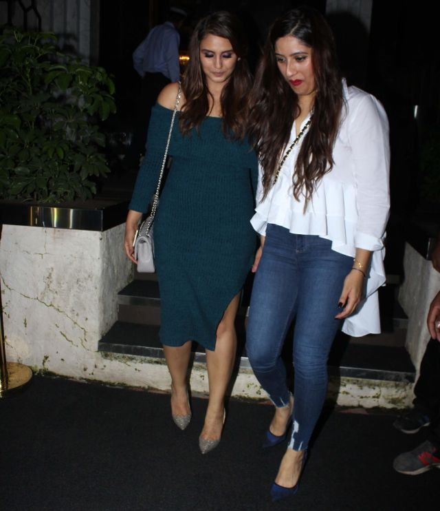 Huma Qureshi In Green Dress at Rohini iyer Birthday Party