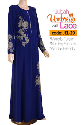 Jubah Umbrella Lace JEL-29 Blue Depan 1