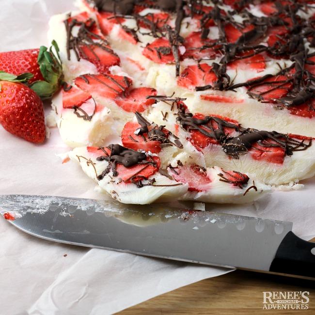 Frozen Strawberry Chocolate Yogurt Bark | Renee's Kitchen Adventures