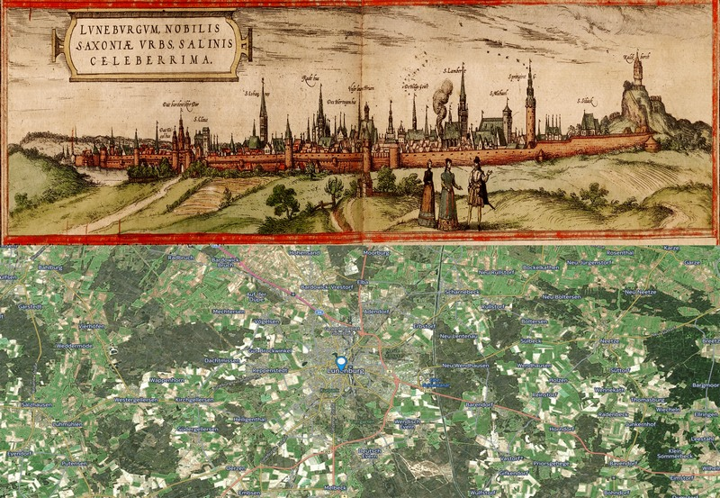 Old Cities Lunenburg Germany Map Then And Now - Germany map then and now