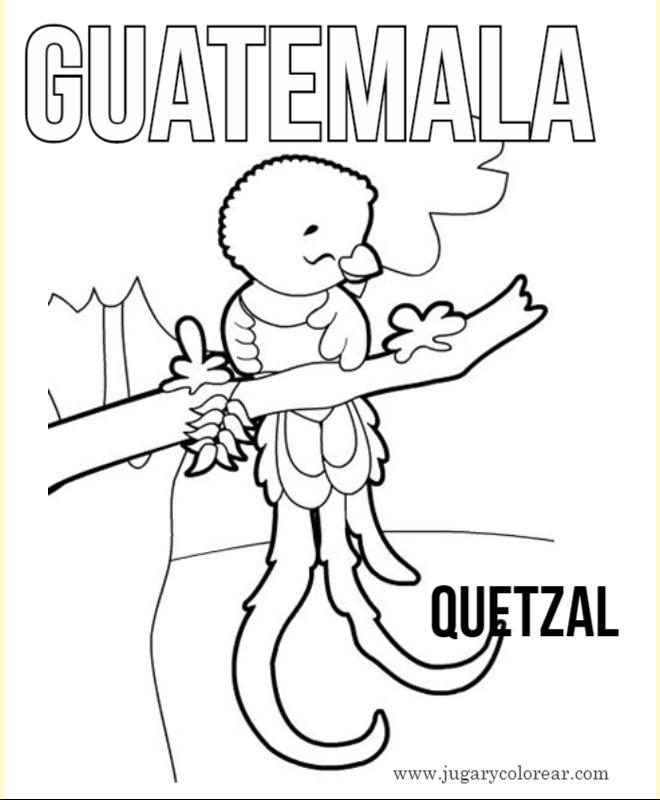 Quetzal Para Colorear Dibujo Del Quetzal Con Tecun Uman
