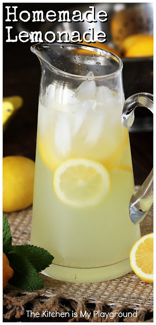 How to Make Homemade Lemonade ~ It's truly simple to whip up a batch of lemonade from scratch! Follow these easy instructions on how to make Homemade Lemonade, and then get ready to sip away on this refreshing classic drink.  www.thekitchenismyplayground.com