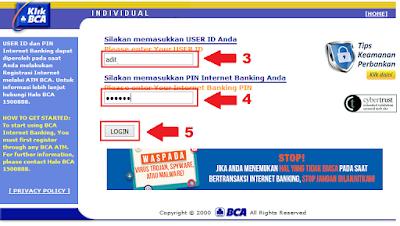 Cara Menambah Daftar Rekening Tujuan di KlikBCA / Internet Banking BCA - Halaman Akses Login KlikBCA