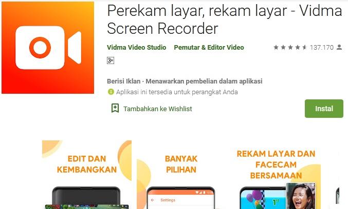 aplikasi screen recorder game tanpa watermark