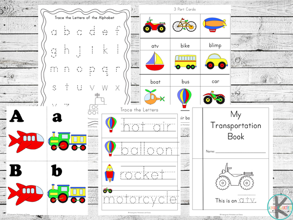 transportation printables to help toddler, preschool, prek, kindergarten, and first grade kids practice alphabet letters, tracing letters, transportation emergent reader, and trace key words