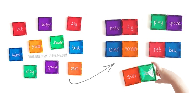 magnetic tiles compound word puzzles
