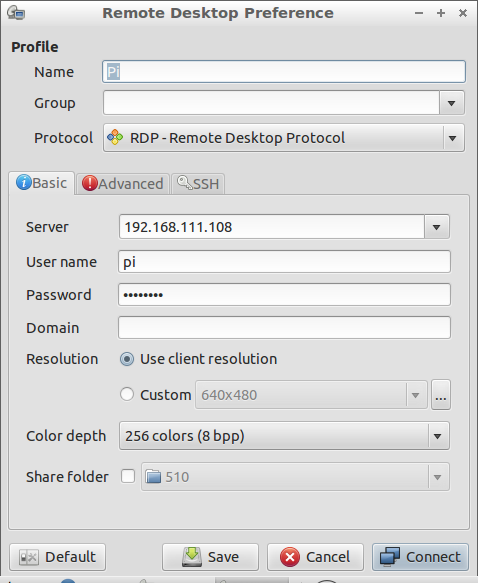 Hello Raspberry Pi: Use Remmina (remote desktop client) from