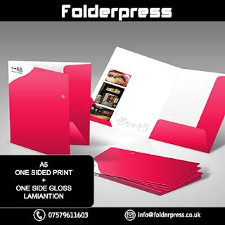 A5 Single Sided Folders printing + One side Gloss lamination