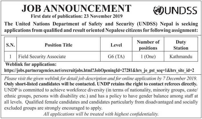 Job Announcement from UNDSS Nepal