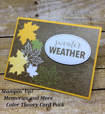 Fall Card with the Stampin' Up! Memories and More Color Theory Card Pack by Kay Kalthoff with Stamping to Share.