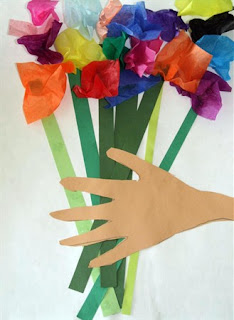 Hand on Bouquet card for Mother's Day