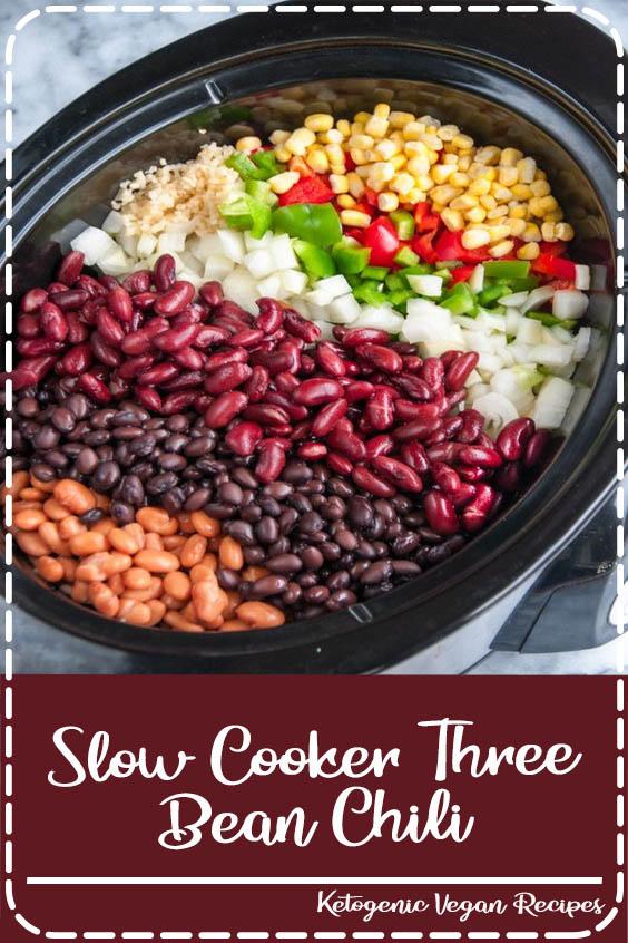 Skip the garnishes for a tasty vegan dish Slow Cooker Three Bean Chili