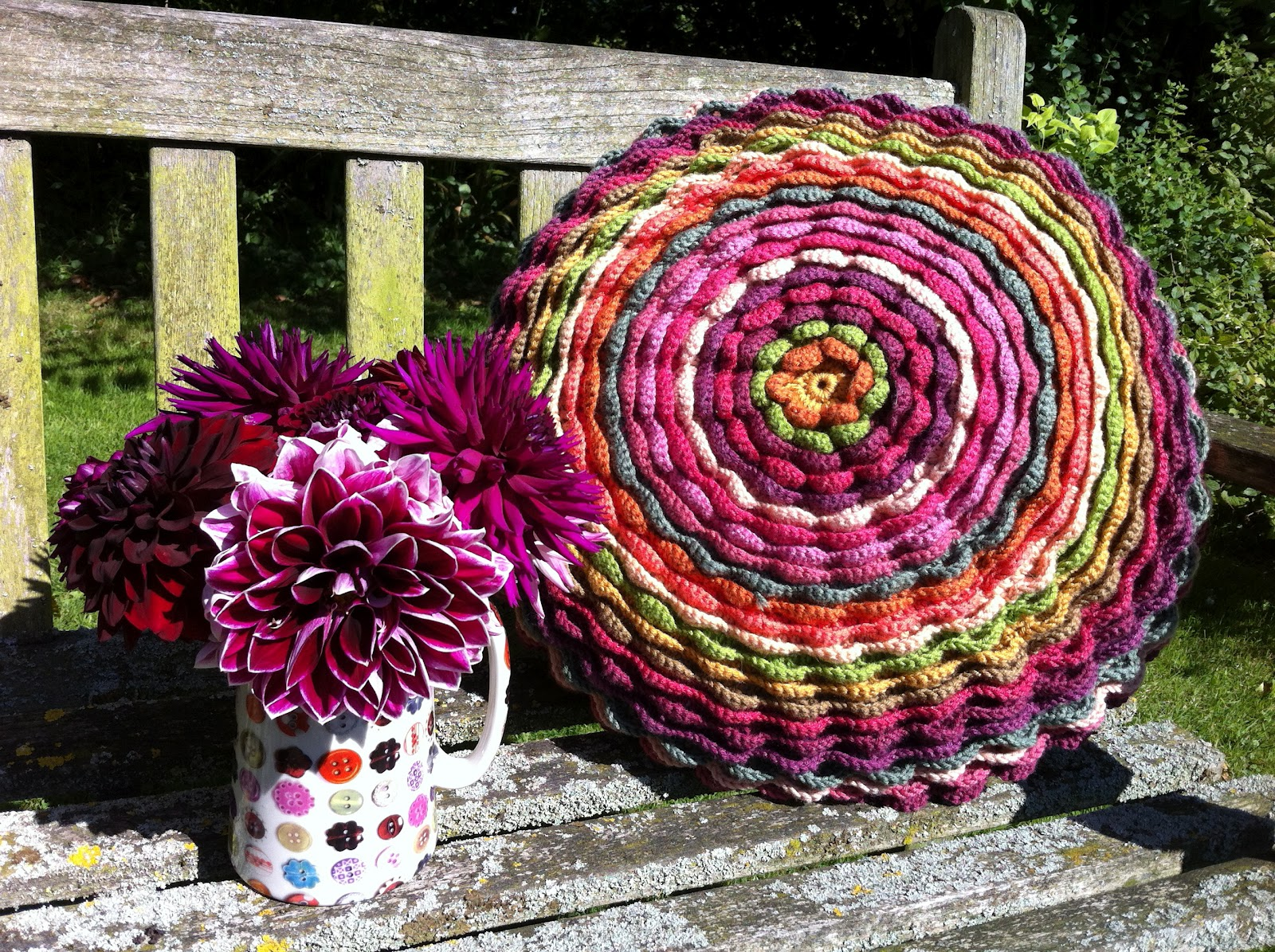 Mrs Thomasina Tittlemouse Dahlia Crochet Cushion