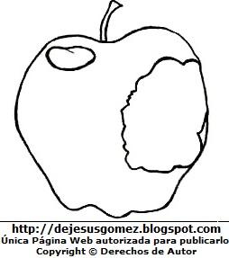 Manzana mordida para colorear o pintar para niños. Ilustración de manzana de Jesus Gómez