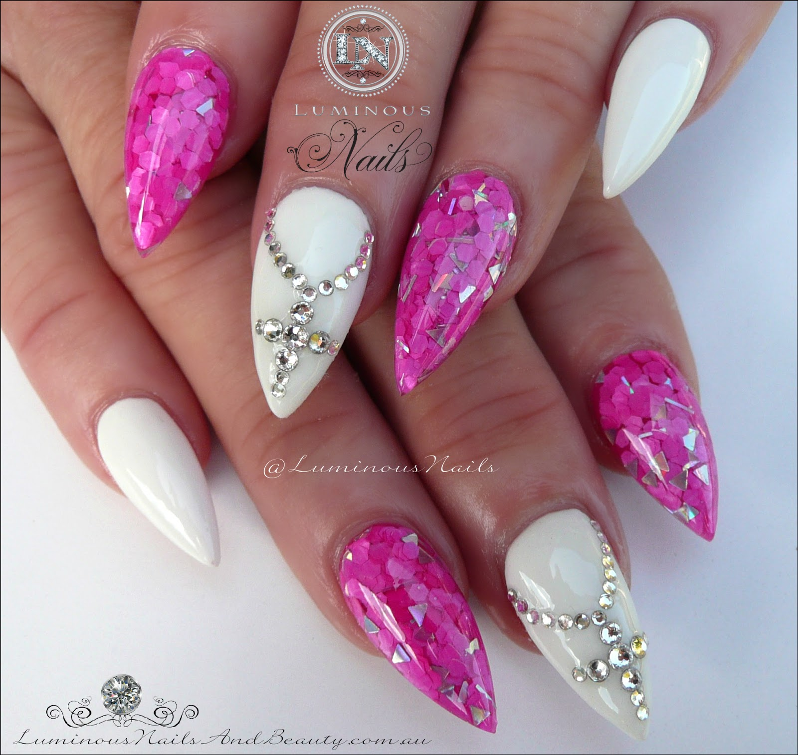 Hot pink and white nails