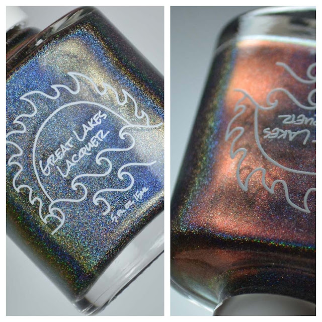holographic grey to peach nail polish in a bottle