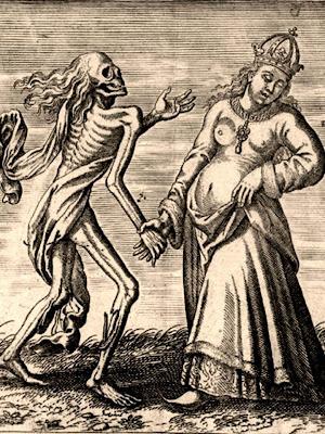 En la imagen una mujer agarra la mano de la muerte