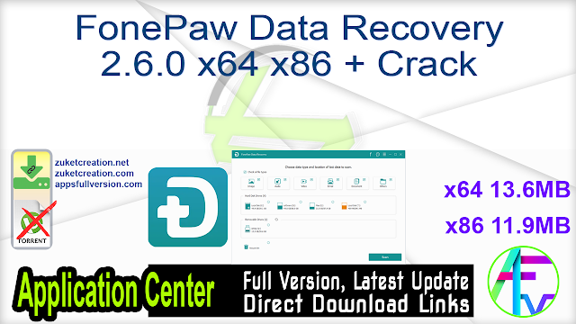 FonePaw Data Recovery 2.6.0 x64 x86 + Crack