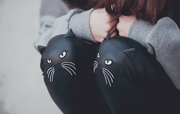 Cat Face Leather Leggings