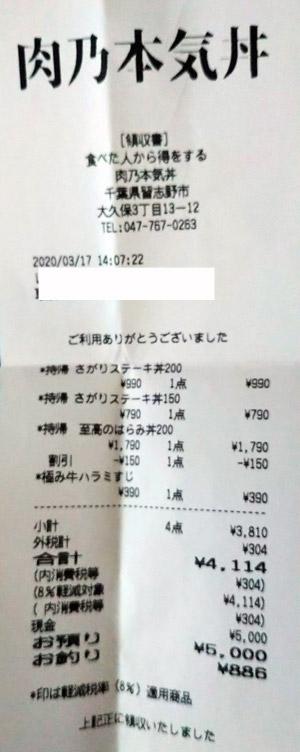 肉乃本気丼 2020/3/17 のレシート