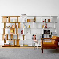 Two colors bookcases with mid-century design style