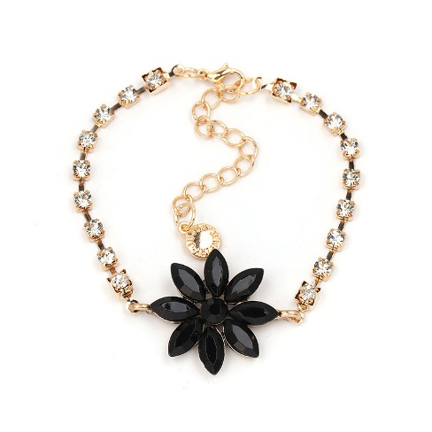 Crystal&CZ Fashion Flowers bracelet (black) NHJJ4571 black–Price:US$2.23