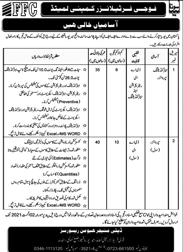 Fauji Fertilizer Company Limited FFC Latest Jobs For Supervisor (Civil) & Other 2021