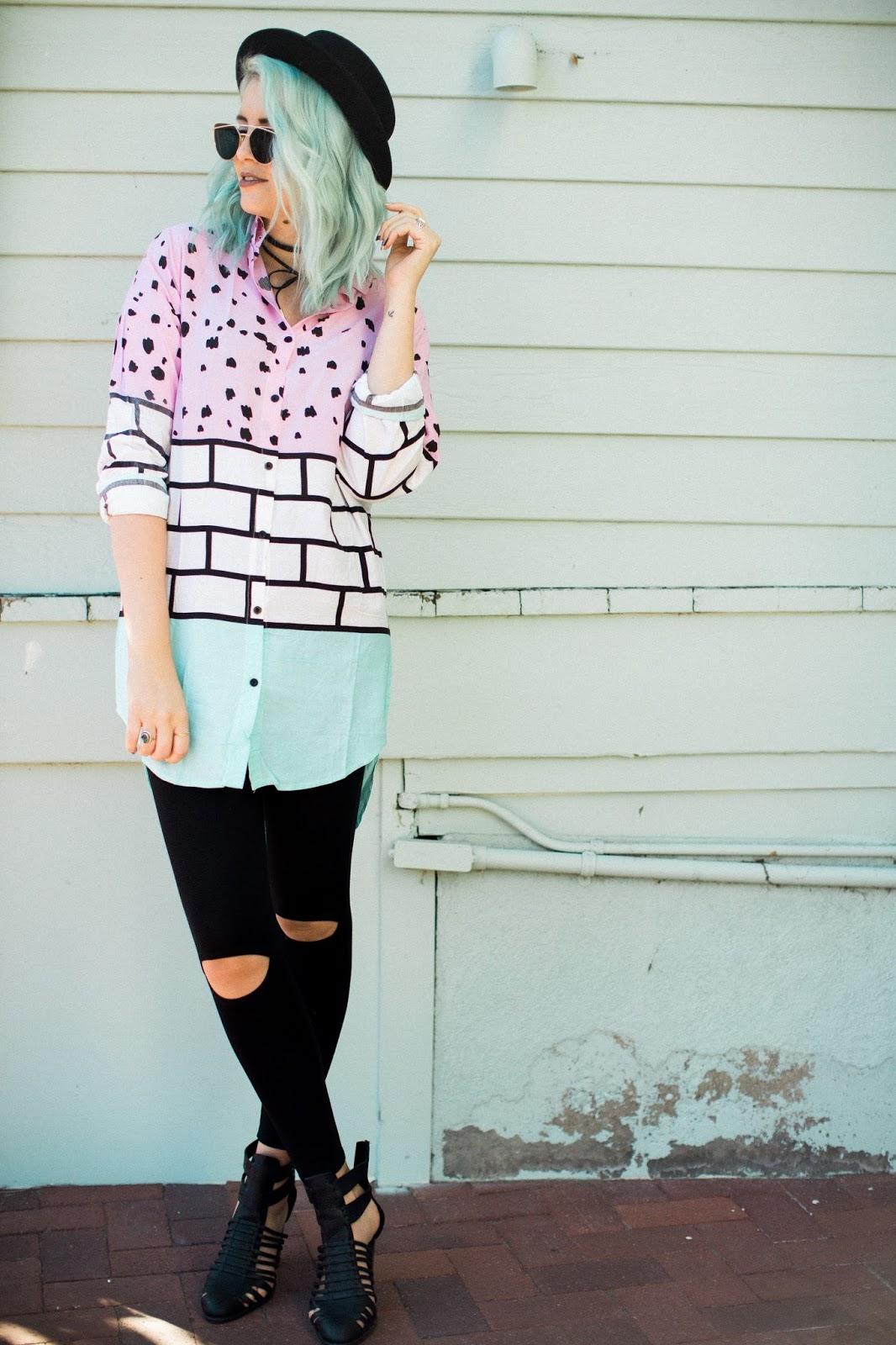 Blue hair, fashion Blogger, modest