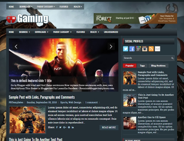 Columns Blogger Template for Game Blogs Free Download Gaming Blogger Template