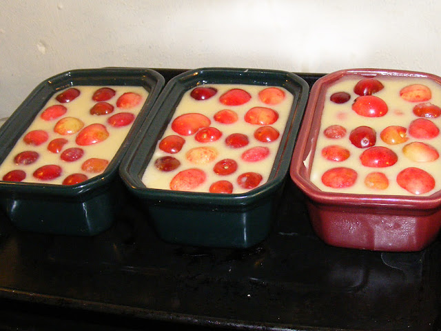 Individual clafoutis ready for the oven. Photo by Loire Valley Time Travel.