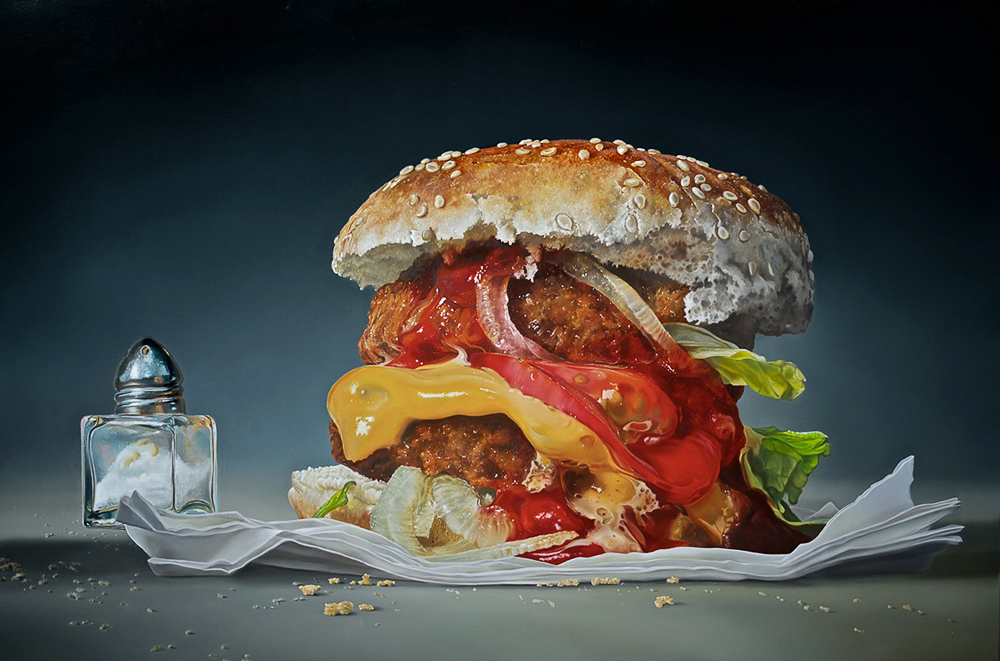 03-Big-Burger-Tjalf-Sparnaay-The-Beauty-of-the-Everyday-Paintings-of-Food-Art-www-designstack-co