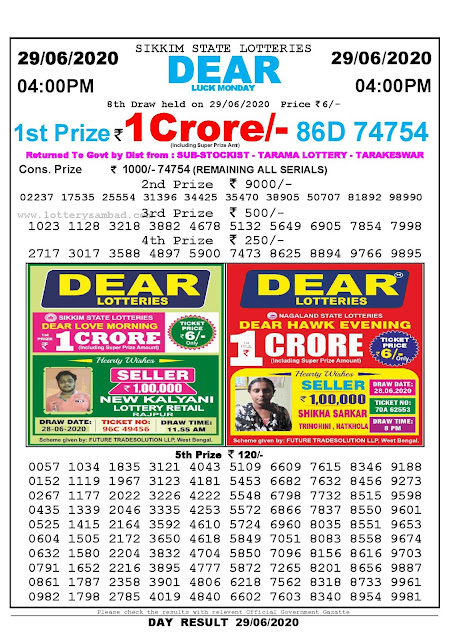 Sikkim State Lottery Sambad 29-06-2020 Today Result 4 PM