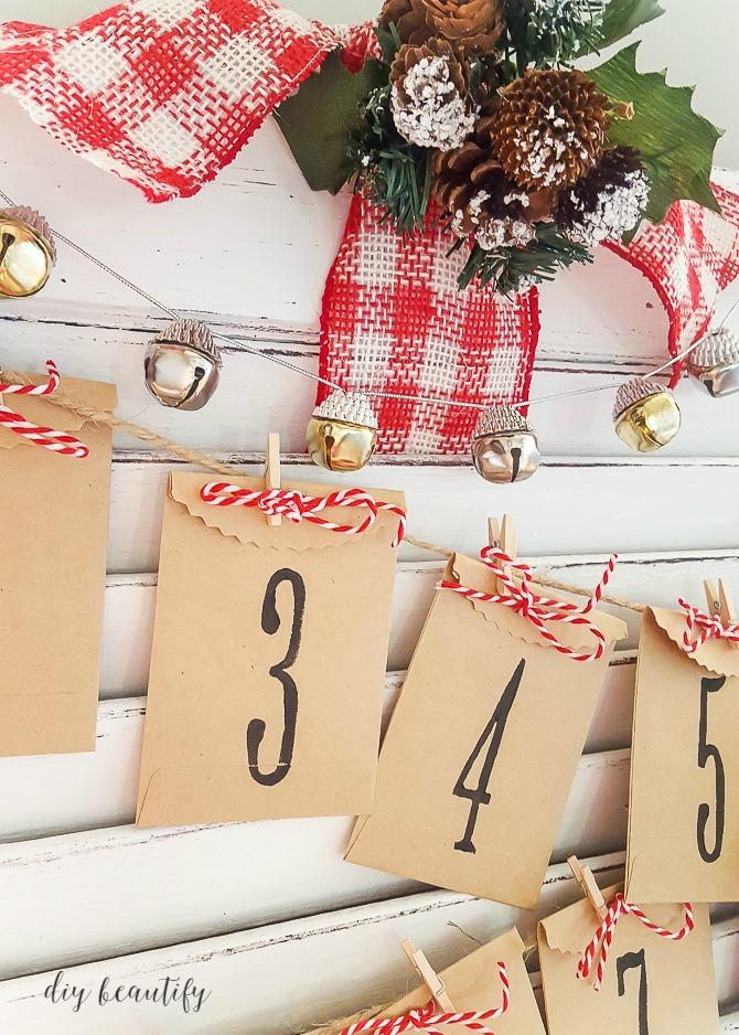 Christmas countdown calendar from a shutter
