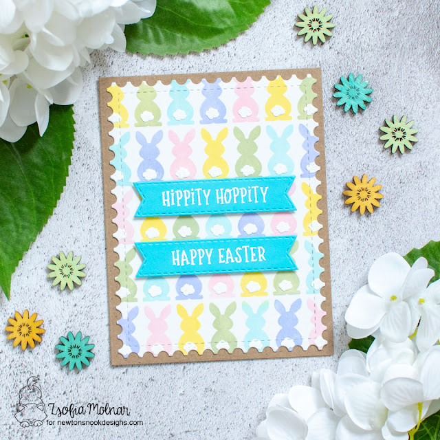 Hippity Hoppity Easter card by Zsoifa Molnar | Bunny Tails Stencil Set, Banner Trio Die Set and Fancy Edges Tag Die Set by Newton's Nook Designs #newtonsnook #handmade