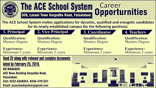 ACE School System Faisalabad Jobs 2019 For Principal and Teachers