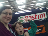 Mum and son next to the Bloodhound Supersonic Car
