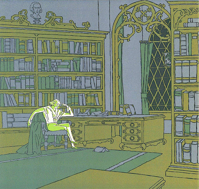 René Clarke 1932, an illustration of an intellectual thing in his library