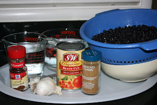 mexican black bean crock pot ingredients on plate