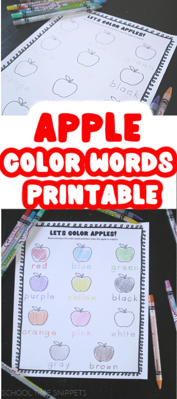 apple color words printable