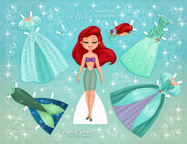 Disney Princess paper dolls filmprincesses.filminspector.com