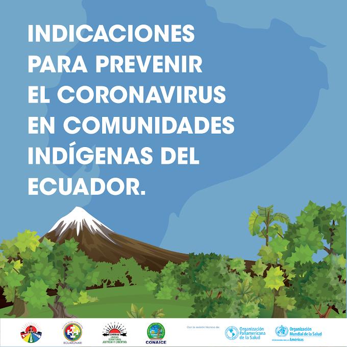 Indicaciones para prevenir el coronavirus en comunidades indígenas del Ecuador!