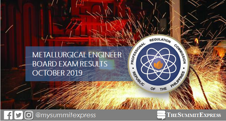 FULL RESULTS: October 2019 Metallurgical Engineer board exam passers, top 10