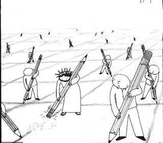 A line drawing. It shows a lot of people drawing boxes on the ground, and Jesus erasing those lines.