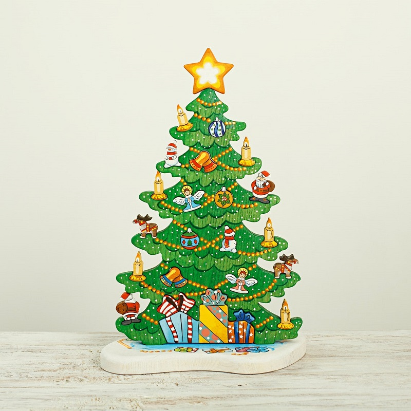 wooden caterpillar christmas tree puzzle