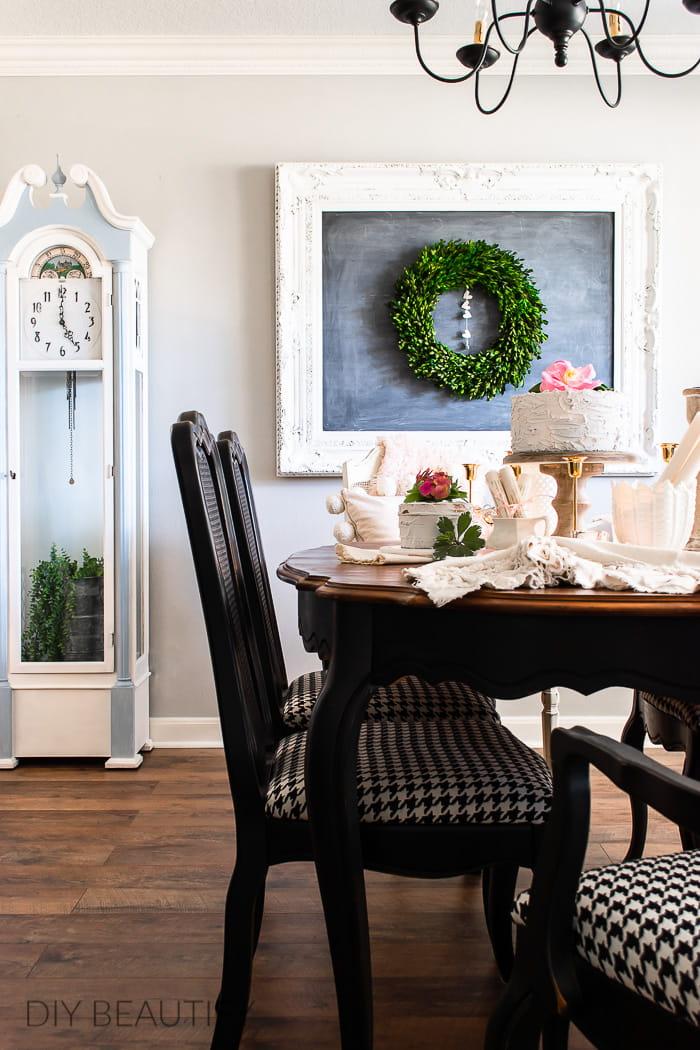 dining room decor with blush pink and hearts