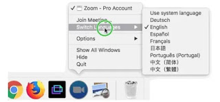 come cambiare lingua zoom cloud meetings su mac